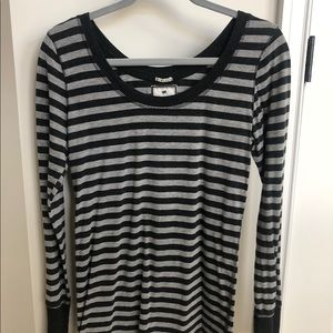 Gray and Black Striped Long Sleeved Shirt